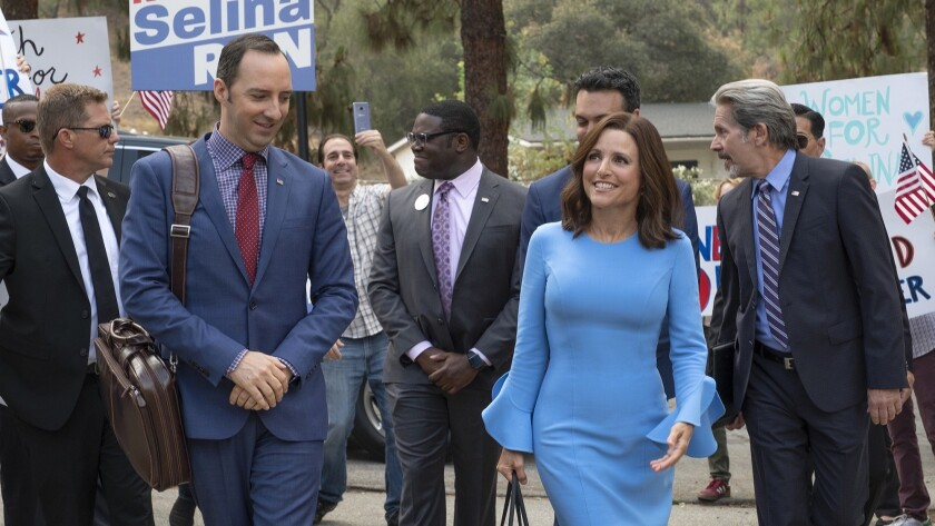 """Tony Hale, left front, and Julia Louis-Dreyfus star in """"Veep,"""" whose final season debuts Sunday on HBO."""