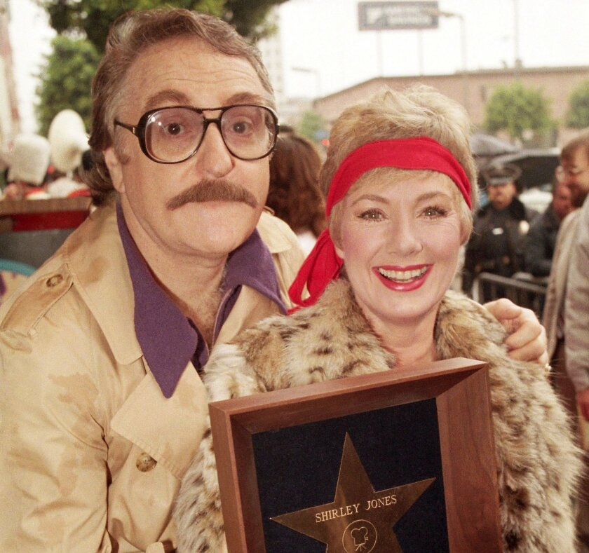 Marty Ingels poses with Shirley Jones on Feb. 14, 1986, when she was awarded a star on the Hollywood Walk of Fame.