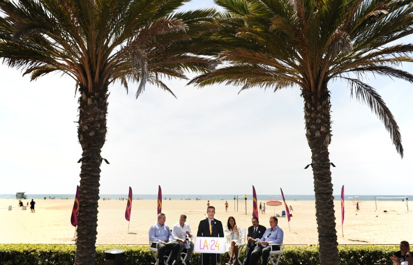 Los Angeles Mayor Eric Garcetti speaks to guests and media in Santa Monica in September to announce the City Council's approval to bid for the Olympic Games in 2024.
