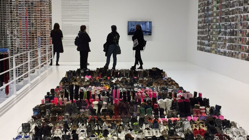 Syrian refugee shoes on exhibit in New York's Soho