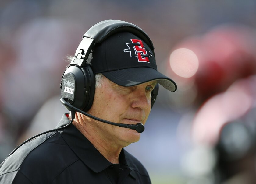 CADIU101 - 08.31.2013  SDSU versus E. Illinois college football_San Diego , CA. USA-- Aztecs head coach Rocky Long wasn't pleased with the outcome of SDSU's first game against EIU.  ._MANDATORY CREDIT: U-T San Diego photo by Earnie Grafton, 2013.  NO SALES, NO ARCHIVING, TV OUT, MAGS OUT,   TABLOID