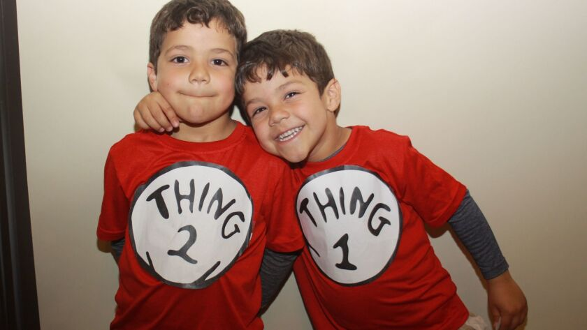 Twins Joao and Daniel Larcher, aka Thing 2 and Thing 1