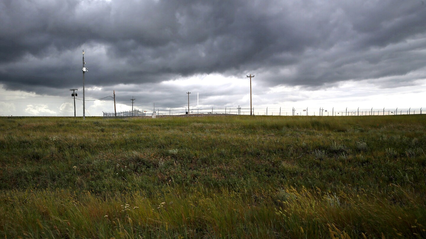 North of Great Falls, Mont., a small lot surrounded by a chain-link fence indicates a nuclear missile silo underground.