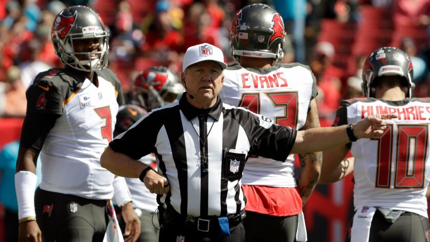 NFL referee Walt Coleman (65) during the first quarter of an NFL football game between the Tampa Bay