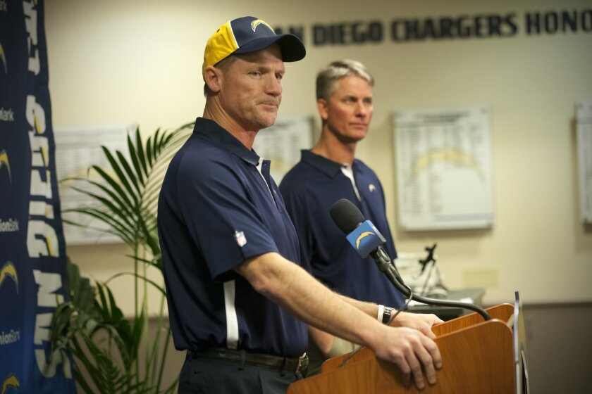 San Diego Chargers Head Coach Mike McCoy introduced the team's new offensive coordinator, former Arizona Cardinals head coach Ken Whisenhunt.