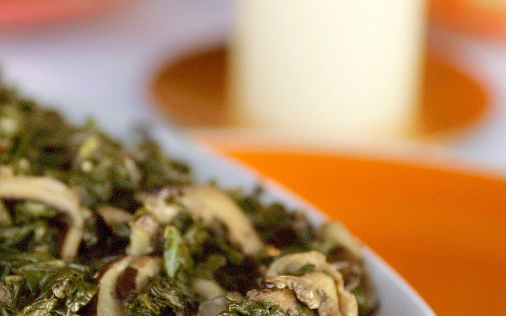 Swiss chard and shiitakes with poblanos