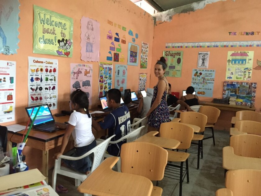 17-year-old Elena Crespo in the computer lab she founded on the remote Panamanian island of Solarte.