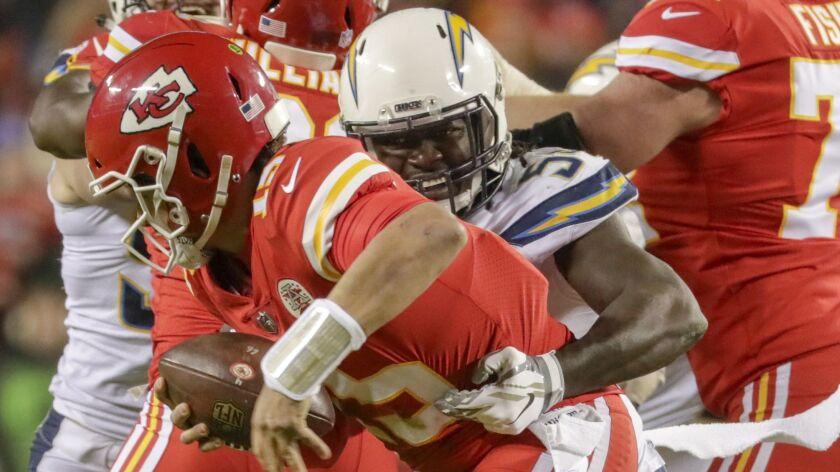 Chargers linebacker Melvin Ingram sacks Chiefs quarterback Patrick Mahomes on Dec. 13 at Arrowhead Stadium.