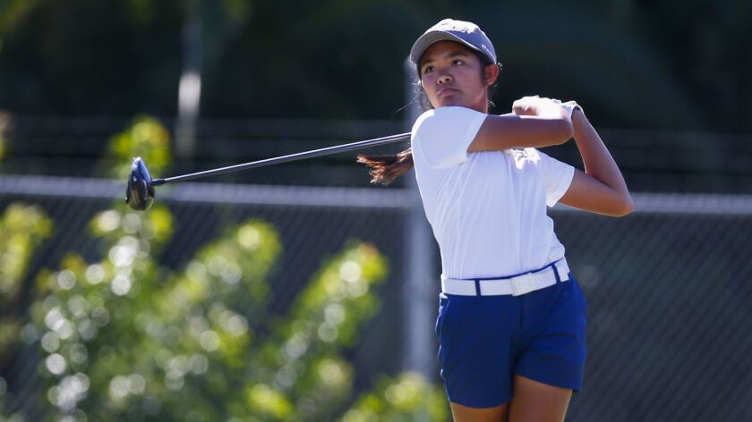 Mater Dei's Brianna Navarrosa tees off on the 14th hole of the Admiral Baker South Course.