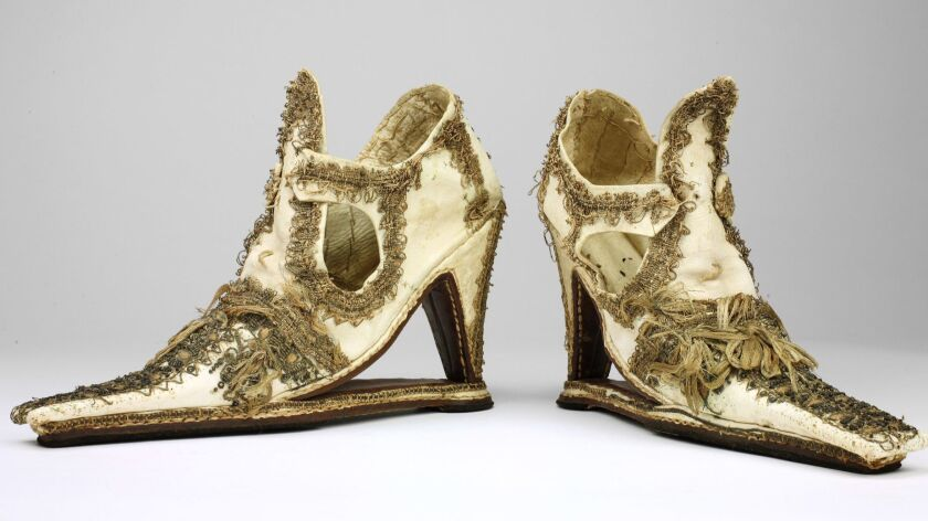These shoes that date to the 1660s are part of the collection at the Bata Shoe Museum in Toronto.