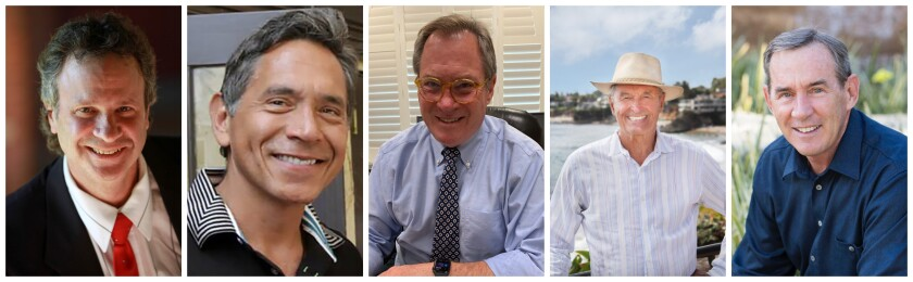 Laguna Beach City Council candidates, from left: Steve Dicterow, Ruben Flores, Larry Nokes, George Weiss and Bob Whalen.
