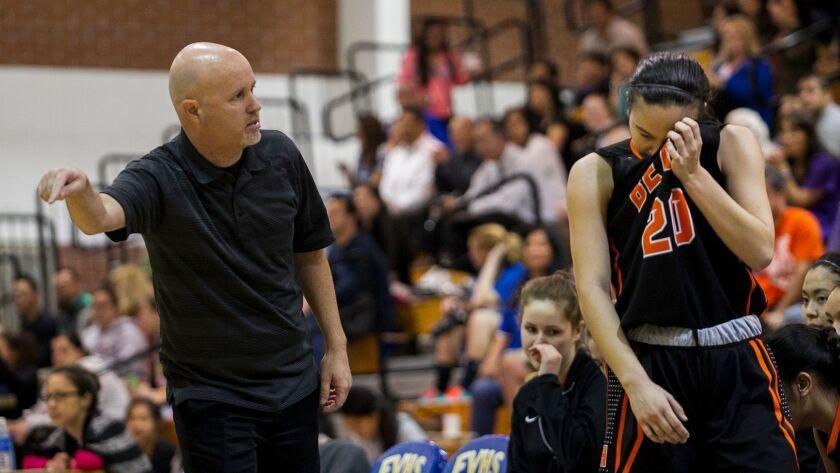Huntington Beach's head coach Russell McClurg talks to Samantha Gray.