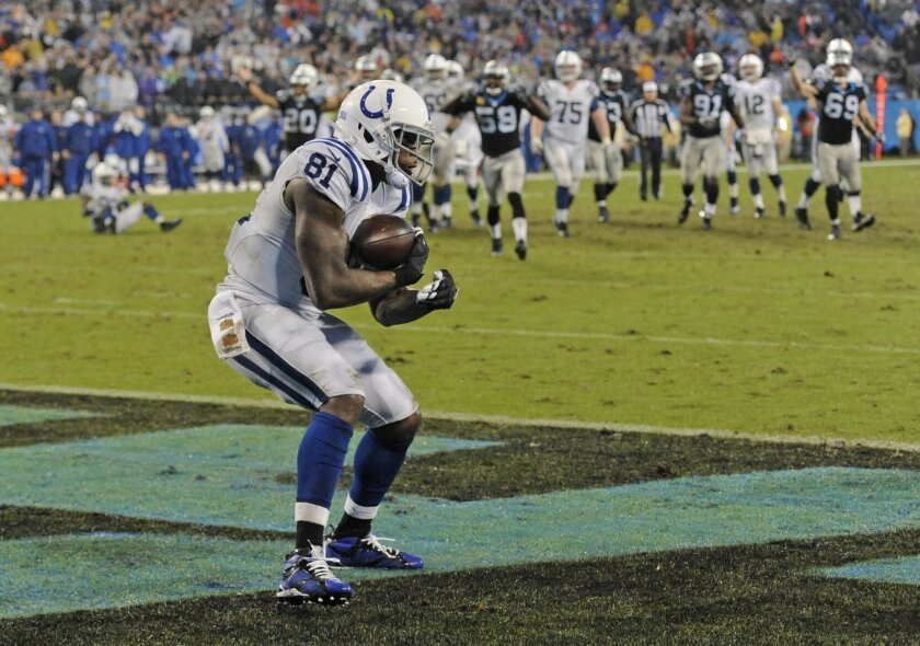 Indianapolis Colts' Andre Johnson (81) catches a touchdown pass against the Carolina Panthers in the second half of an NFL football game in Charlotte, N.C., Monday, Nov. 2, 2015. (AP Photo/Mike McCarn)