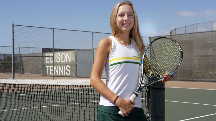 Edison High junior girls' tennis player Zoe Coggins is the Daily Pilot High School Female Athlete of