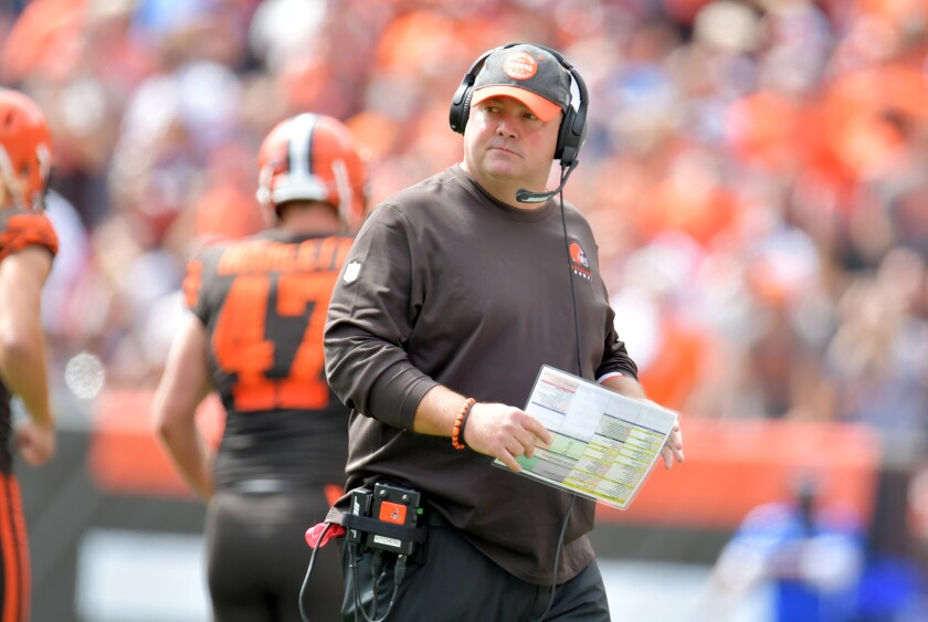 Cleveland Browns coach Freddie Kitchens watches from the sideline during a season-opening loss to the Tennessee Titans on Sept. 8.