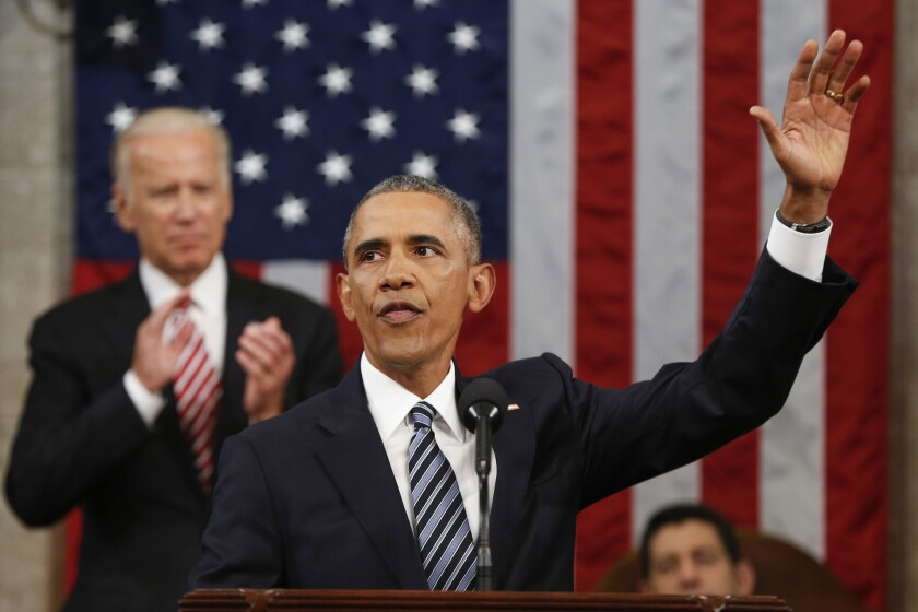 President Obama after his final State of the Union address.