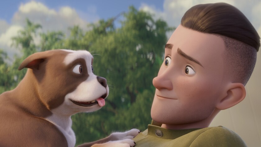 "Stubby and Robert Conroy (voiced by Logan Lerman) in the animated movie ""Sgt. Stubby: An American Hero."""