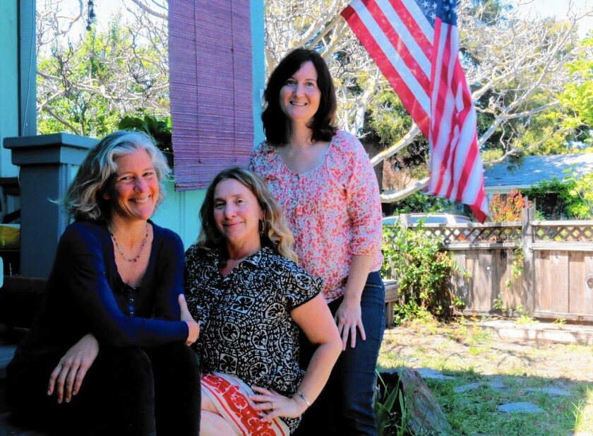 From left, Joni Martin, Lucia Sciarpa Paxton and Barb Matessa, three Santa Cruz County mothers who oppose a bill that would end the personal belief exemption for vaccinations.