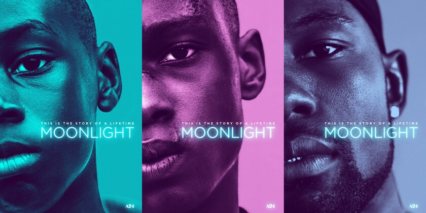 """A triptych of posters released for director Barry Jenkins' """"Moonlight."""""""