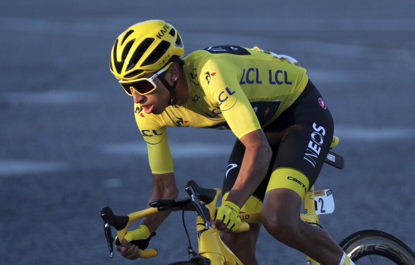 Egan Bernal rides on the Champs-Elysees in Paris during the final stage of the Tour de France on Sunday.