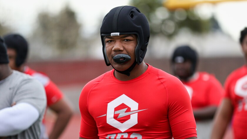 Calabasas defensive end Leshaun Bell looks on between drills at the Opening Los Angeles Regional on Feb. 10.