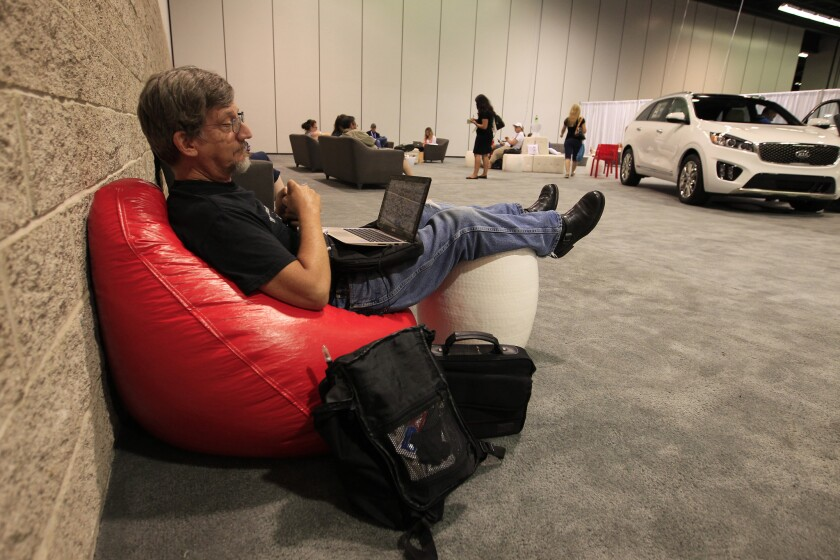 Charles Ross, of Riverside, Calif., hangs out at the Parents Lounge at VidCon at the Anaheim Convention Center on July 23, 2015. The three-day conference features more than 300 of the most innovative and influential YouTube creators.