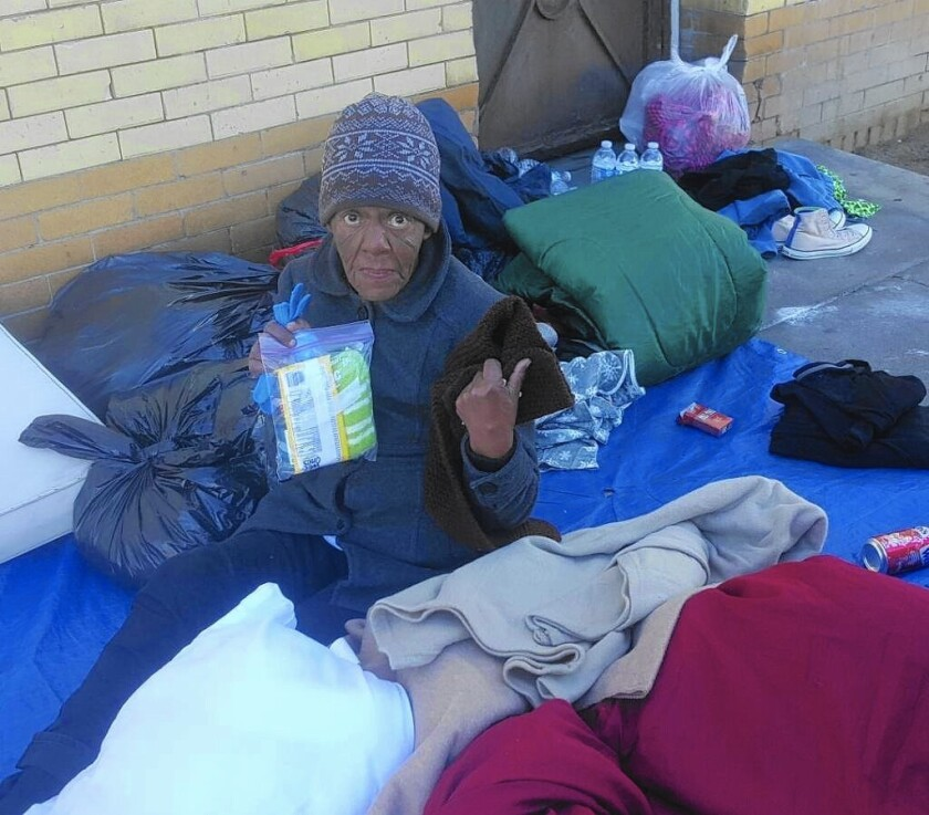 A homeless woman identified as Barbara Brown, shown in a photo taken Christmas Day, died of exposure on a skid row sidewalk, authorities said.