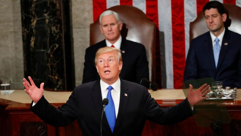 President Donald Trump delivers his State of the Union address to a joint session of Congress on Cap