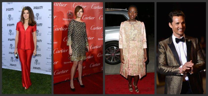 Left to right, Marisa Tomei wears Wes Gordon; Julia Roberts wears Gucci; Lupita Nyong'o wears Elie Saab; Matthew McConaughey wears Saint Laurent.