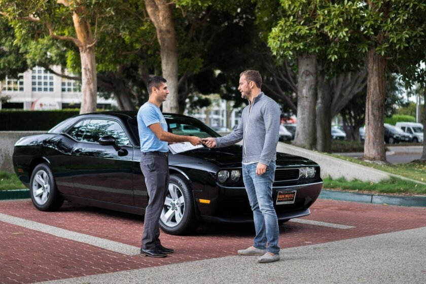 A customer drops off his car to RelayRides, a car-rental sharing service that is opening a pickup/dropoff lot for cars about two miles from LAX.