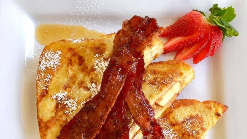 Chestnut Street Inn's Elvis Toast with Candied Bacon.