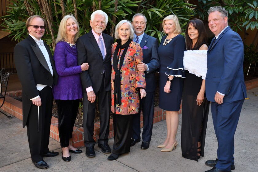 Jeff Edmons (SDYS music director), Arlene Harris and Martin Cooper (honorary chairs), Armi and Al Williams (honorees), Sue Greenway (SDYS board chair), Perla Browlie (SDYS Angels' Angels chair; event chair), Dr. Michael Remson (SDYS president/CEO)