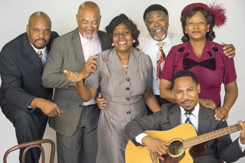 "Laurence Brown, Antonio ""T.J."" Johnson, Milena Phillips, Grandison Phelps III, Ro Boddie and Yolanda Franklin (left to right) in Cygnet Theatre's ""Seven Guitars."""