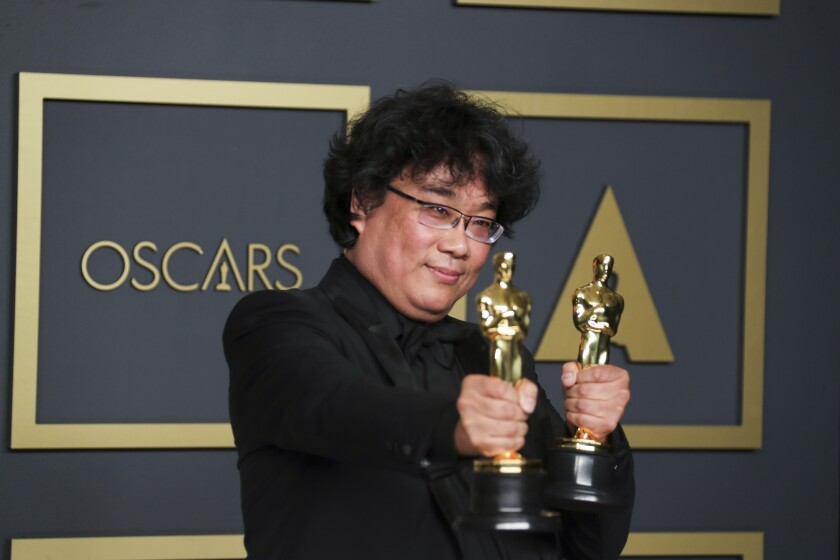 South Korean director Bong Joon Ho at the 92nd Academy Awards at the Dolby Theatre in Los Angeles on Feb. 9, 2020.