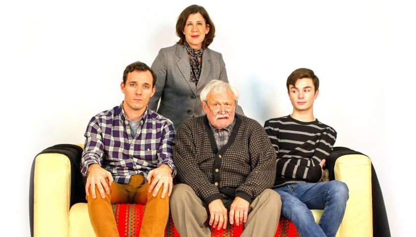 """Alex Hoeffler, Maggie Carney, Navarre T. Perry and Dylan James Mulvaney (left to right) appear in Cygnet Theatre's """"Sons of the Prophet."""""""