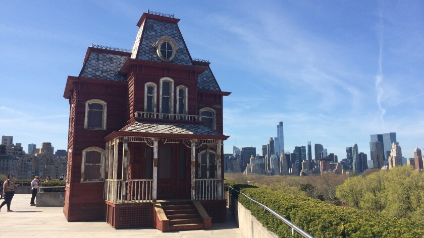 """Cornelia Parker's """"Transitional Object (PsychoBarn)"""" on the roof of the Metropolitan Museum of Art in New York."""