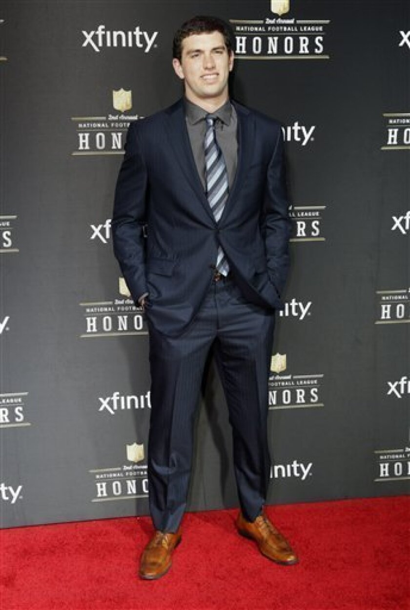 Andrew Luck of the Indianapolis Colts arrives at the 2nd Annual NFL Honors on Saturday, Feb. 2, 2013 in New Orleans. (Photo by AJ Mast/Invision/AP)