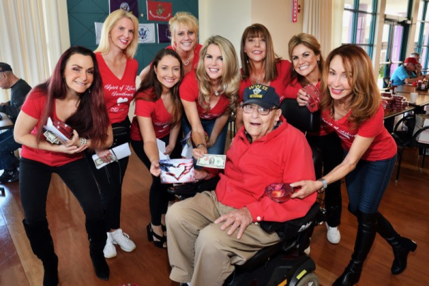 Spirit of Liberty's Sweetheart Team members with a resident of the Veterans Home of California, Chula Vista on Valentine's Day.