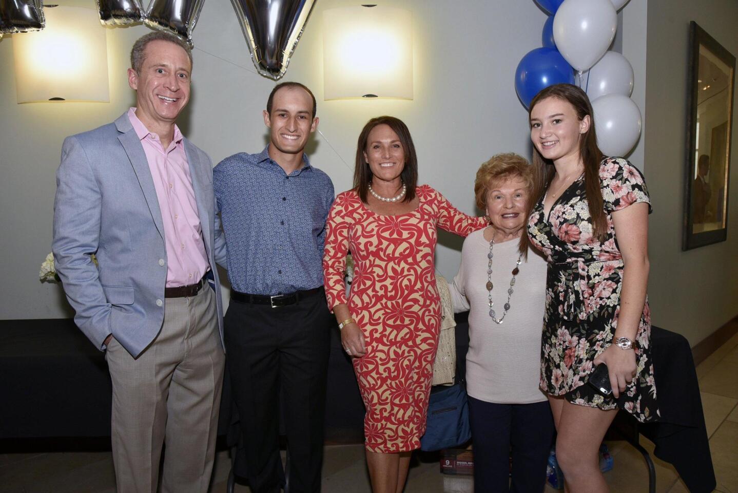 Randy Kay, senior graduate Noah, Liza Kay, Marcy Samoiloff, Avery