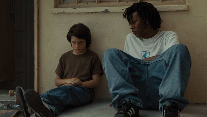 """Sunny Suljic, left, and Na-kel Smith in the movie """"Mid90s."""""""