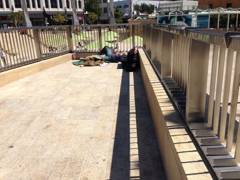 The overlook of Horton Plaza Park sometimes becomes a sleeping spot.