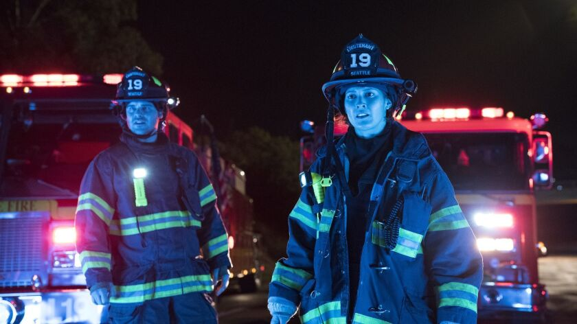 "Grey Damon and Jaina Lee Ortiz play Seattle firefighters navigating sundry conflagrations in ABC's ""Grey's Anatomy"" spinoff, ""Station 19."""