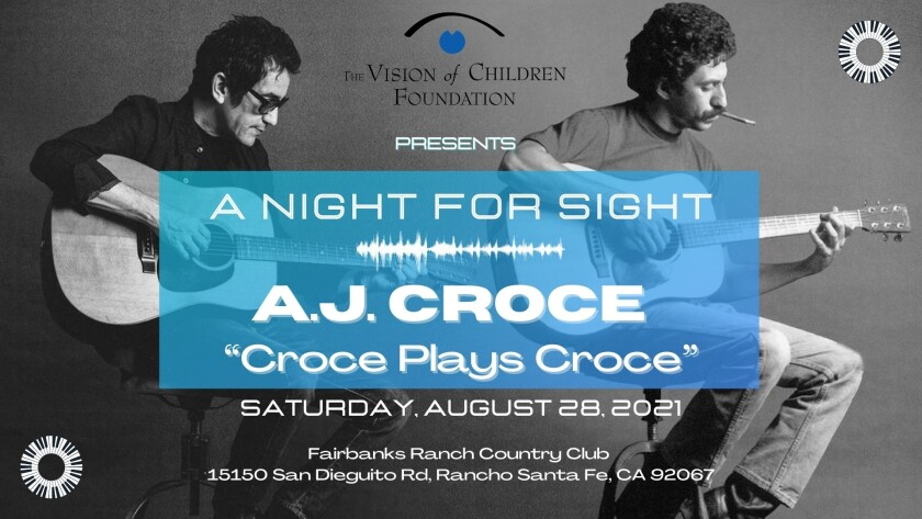 """The Aug. 28 benefit will feature A.J. Croce's """"Croce Plays Croce"""" at the Fairbanks Ranch Country Club."""