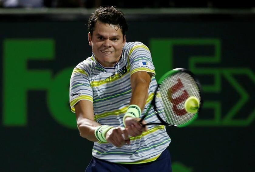 Milos Raonic of Canada in action against Diego Schwartzman of Argentina during their third round match at the Miami Open tennis tournament on Key Biscayne, Miami, Florida, USA, 25 March 2018. EFE