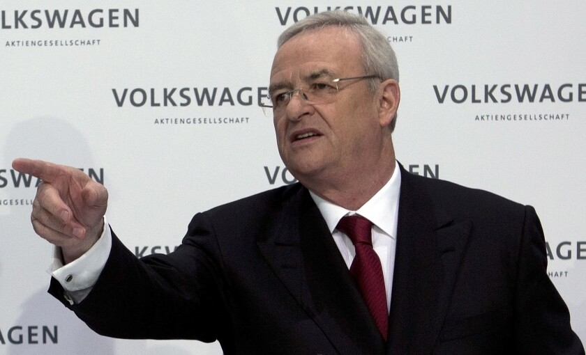 This March 14, 2013, photo shows Martin Winterkorn, then-CEO of German carmaker Volkswagen, at the company's annual meeting in Wolfsburg. Volkswagen said on March 3 that the former CEO may have been warned as early as May 2014 of possible emissions problems with its diesel engines.