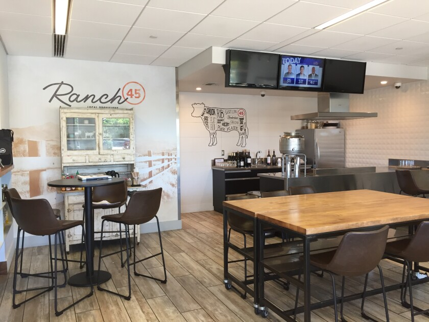 The display kitchen area and dining room at Ranch 45, a combination restaurant, market and cooking school in Solana Beach.