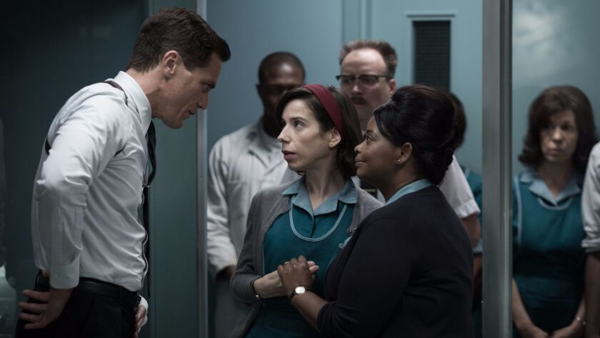 (From L-R) Michael Shannon, Sally Hawkins and Octavia Spencer in the film THE SHAPE OF WATER. Photo