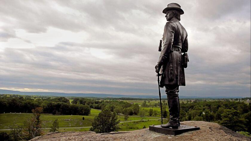 GETTYSBURG, PA: General G.K. Warren statue: This statue of Gen. G. K. Warren is perched on Little R