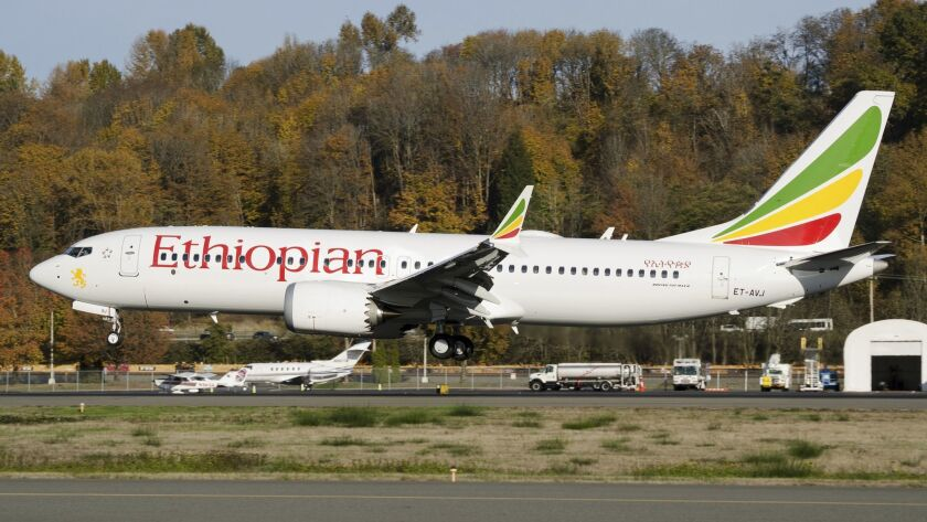 In this photo dated November 12, 2018, the actual Ethiopian Airlines Boeing 737 - Max 8 plane, that