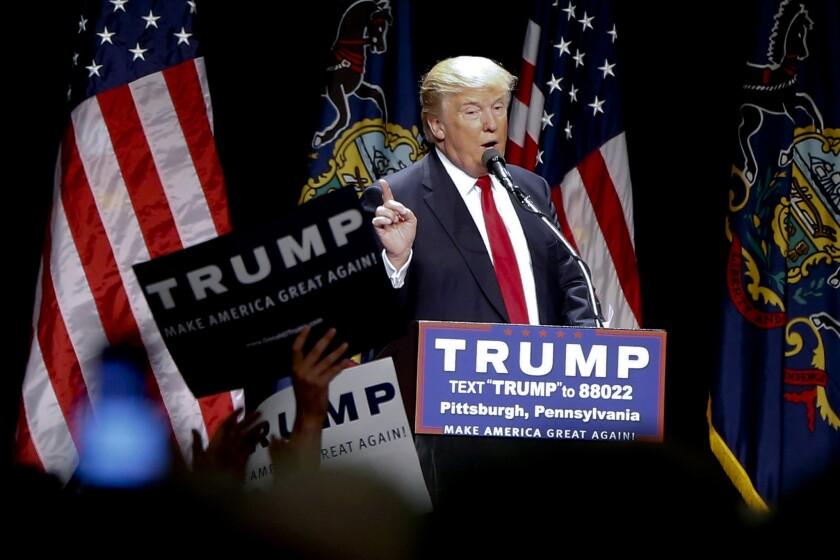 Republican presidential candidate Donald Trump speaks in Pittsburgh.